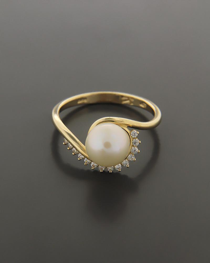 Δαχτυλίδι χρυσό Κ14 με Ζιργκόν και Μαργαριτάρι   γυναικα δαχτυλίδια δαχτυλίδια με μαργαριτάρια