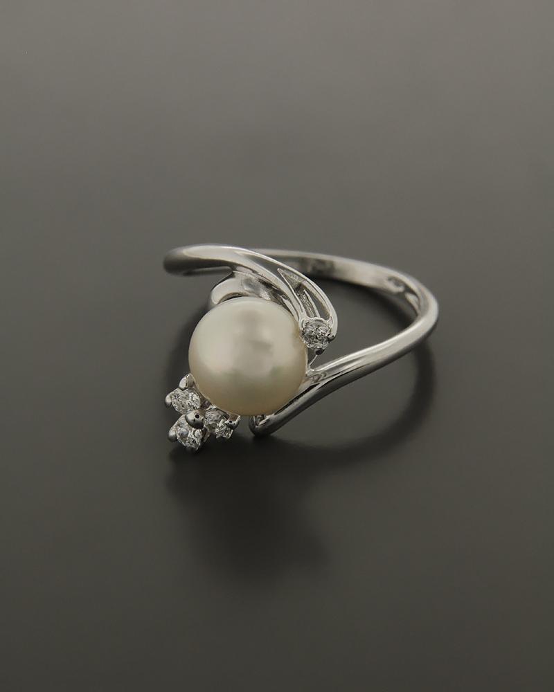 Δαχτυλίδι λευκόχρυσο Κ14 με Ζιργκόν και Μαργαριτάρι   γυναικα δαχτυλίδια δαχτυλίδια με μαργαριτάρια