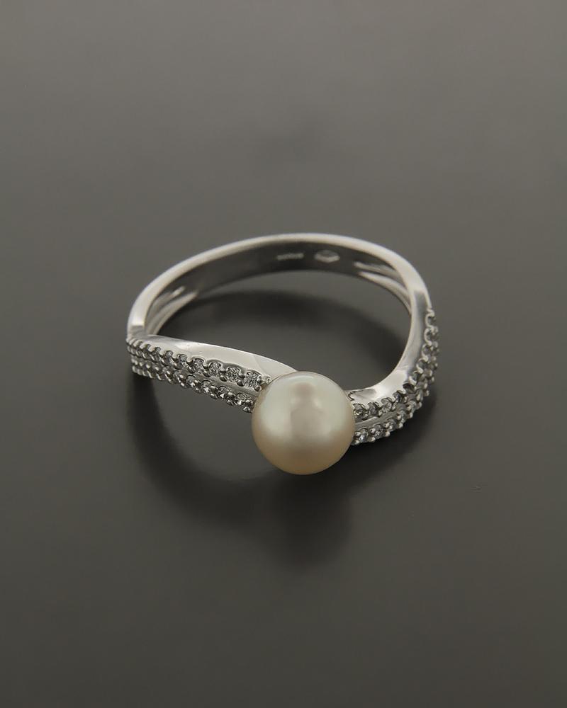 Δαχτυλίδι λευκόχρυσο Κ14 με Ζιργκόν και Μαργαριτάρι   κοσμηματα δαχτυλίδια μονόπετρα με ζιργκόν