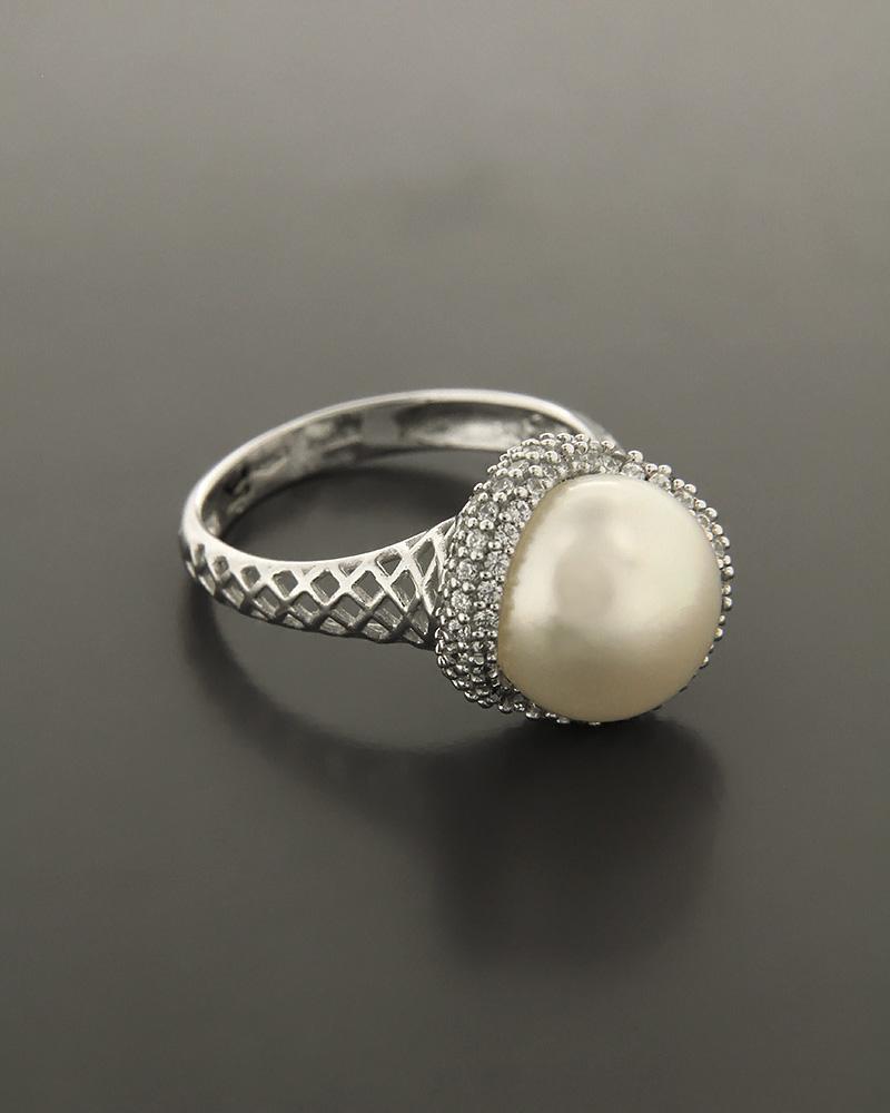 Δαχτυλίδι λευκόχρυσο Κ14 με Ζιργκόν και Μαργαριτάρι   κοσμηματα δαχτυλίδια δαχτυλίδια μαργαριτάρια