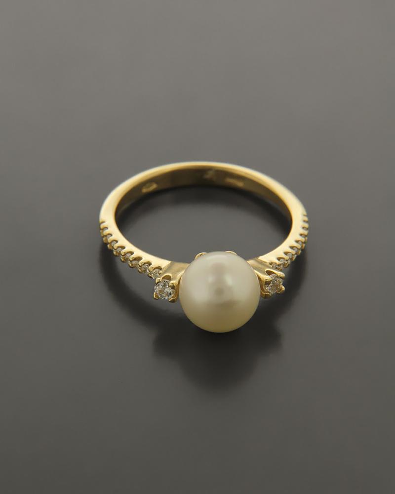 Δαχτυλίδι χρυσό Κ14 με Ζιργκόν και Μαργαριτάρι  6855d449797