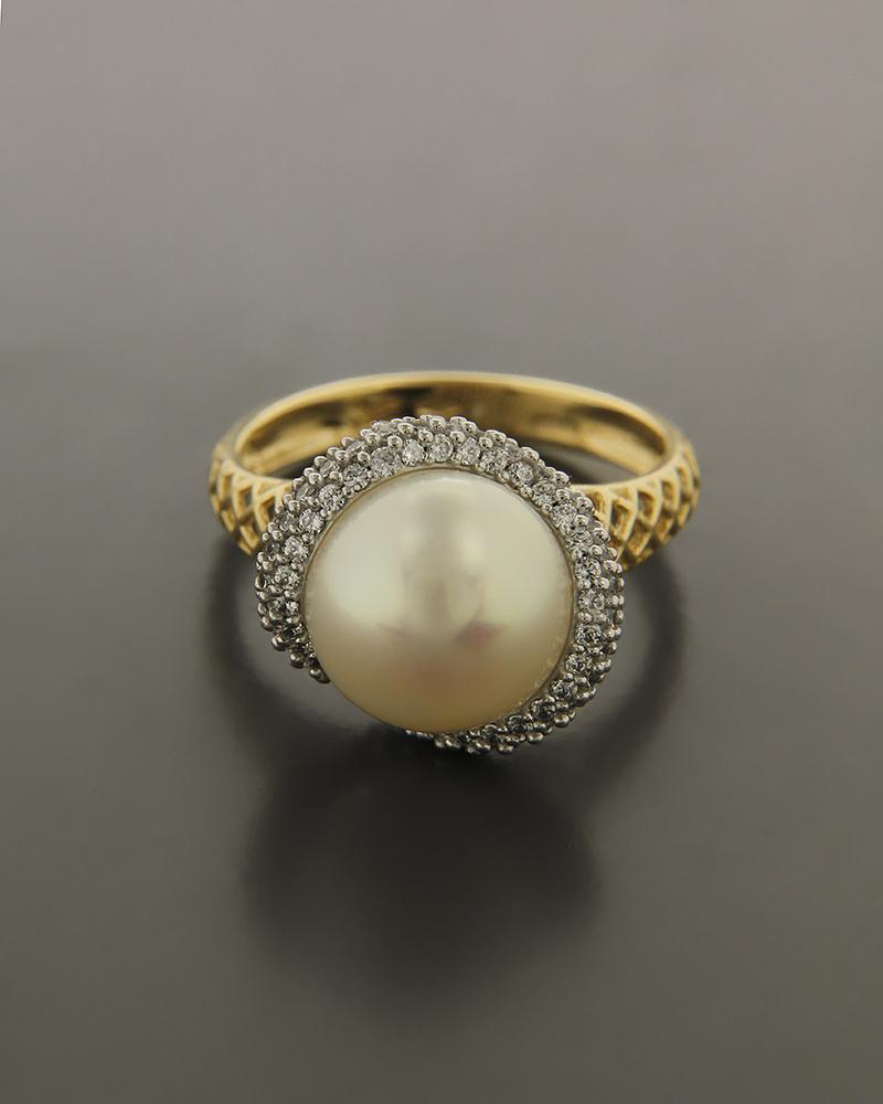 Δαχτυλίδι χρυσό και λευκόχρυσο Κ14 με Ζιργκόν και Μαργαριτάρι   κοσμηματα δαχτυλίδια μονόπετρα με ζιργκόν