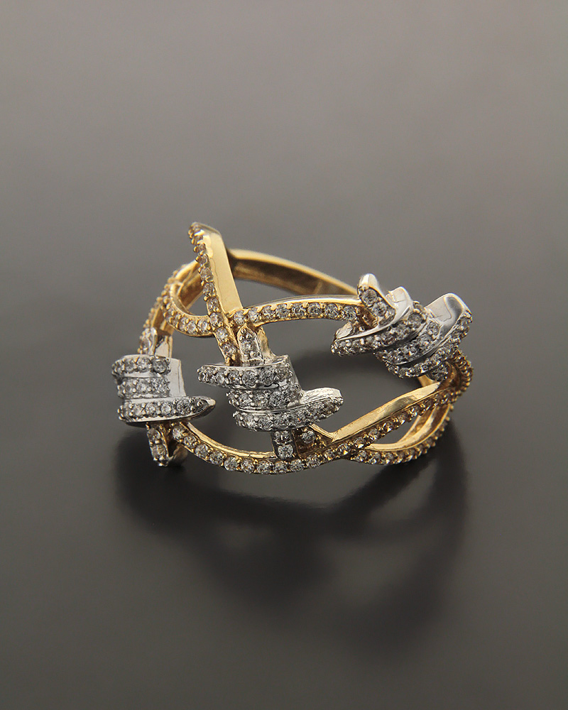 Δαχτυλίδι χρυσό και λευκόχρυσο Κ14 με Ζιργκόν   γυναικα δαχτυλίδια δαχτυλίδια χρυσά