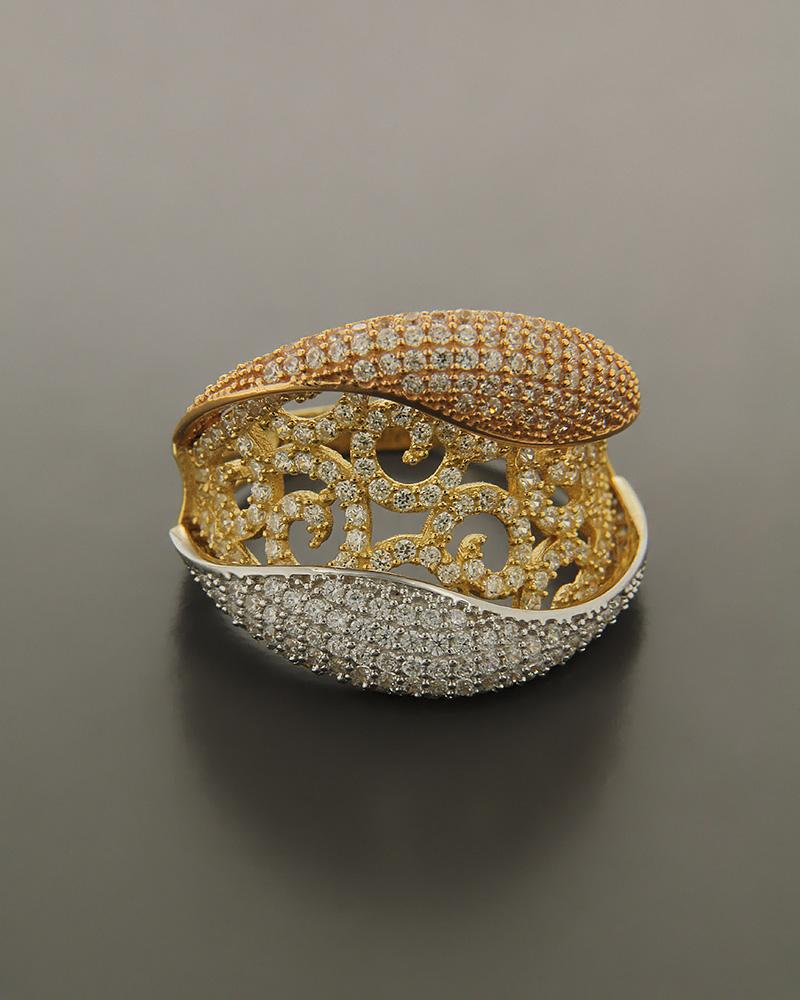 Εικόνα του προϊόντος Δαχτυλίδι χρυσό, ροζ χρυσό και λευκόχρυσο Κ14 με Ζιργκόν