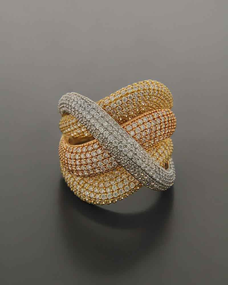 Δαχτυλίδι χρυσό, ροζ χρυσό και λευκόχρυσο Κ14 με Ζιργκόν   γυναικα δαχτυλίδια δαχτυλίδια χρυσά
