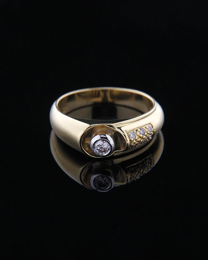 Δαχτυλίδι χρυσό Κ18 με Διαμάντια