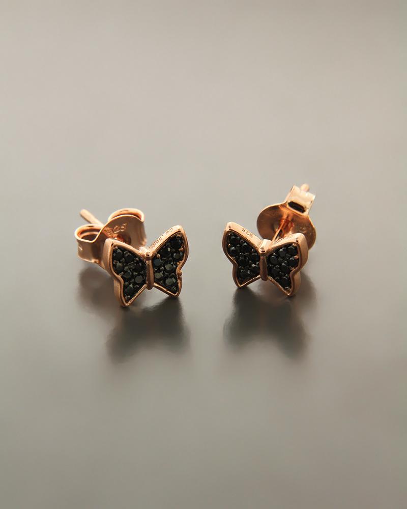 Σκουλαρίκια πεταλούδες ασημένια με ζιργκόν ES1509   γυναικα σκουλαρίκια σκουλαρίκια ασημένια
