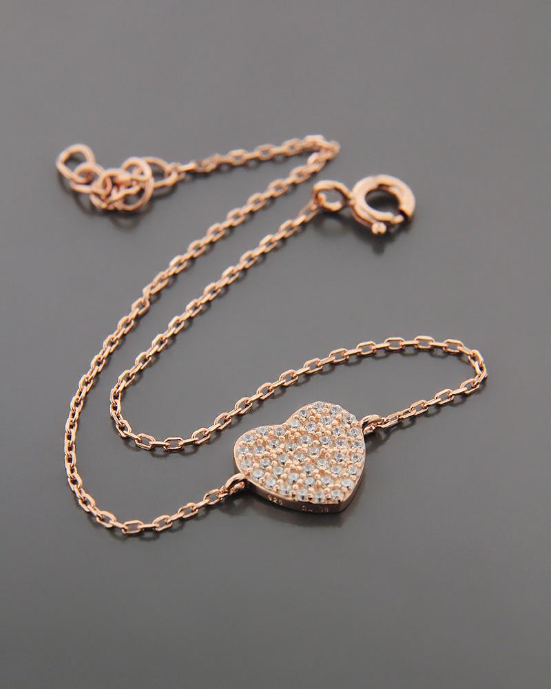 Βραχιόλι ασημένιο με ζιργκόν BS1040   γυναικα κοσμήματα με καρδιές