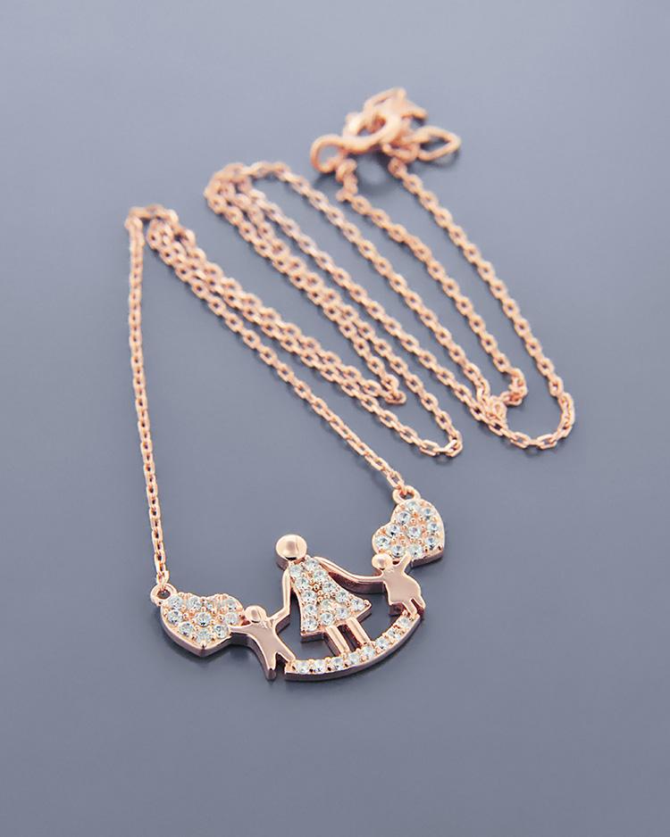 Κολιέ ασημένιο με ζιργκόν ZN980   γυναικα κοσμήματα για τη μαμά