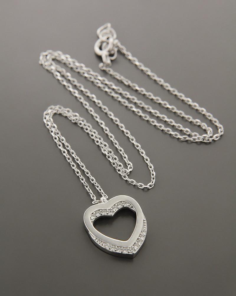 Κολιέ καρδιά ασημένιο με ζιργκόν   γυναικα κοσμήματα με καρδιές