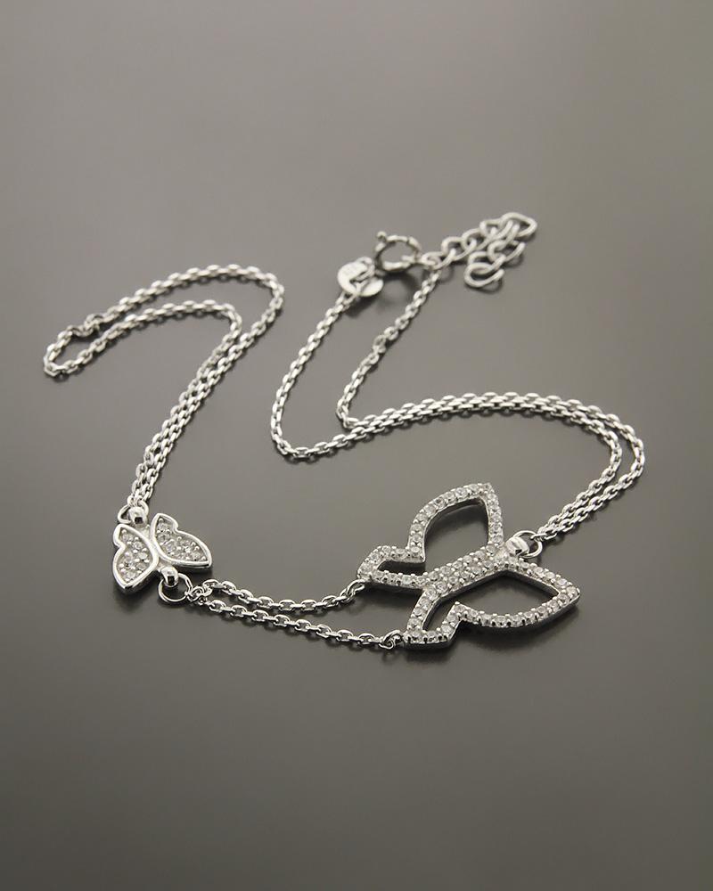 Βραχιόλι πεταλούδες ασημένιο με ζιργκόν BS807   νεεσ αφιξεισ κοσμήματα γυναικεία