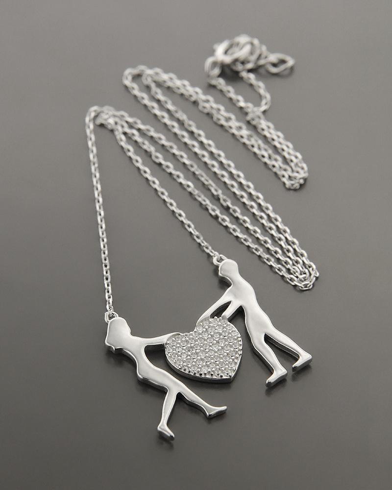 Κολιέ ασημένιο με ζιργκόν ZN963   γυναικα κοσμήματα με καρδιές