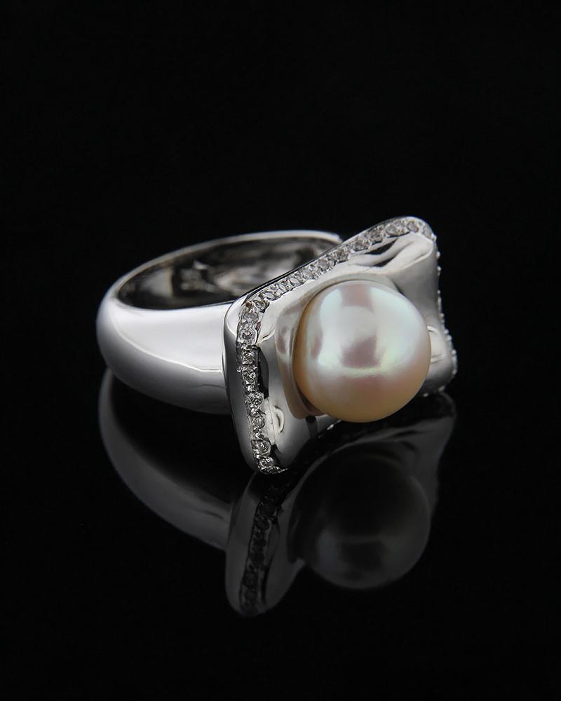 Δαχτυλίδι λευκόχρυσο Κ18 με Διαμάντια και Μαργαριτάρι   γυναικα δαχτυλίδια δαχτυλίδια διαμάντια