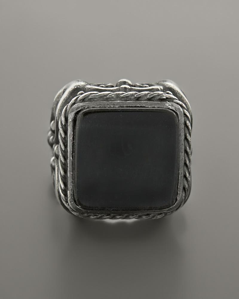 Δαχτυλίδι ασημένιο με πέτρα από αχάτη   κοσμηματα δαχτυλίδια δαχτυλίδια ανδρικά