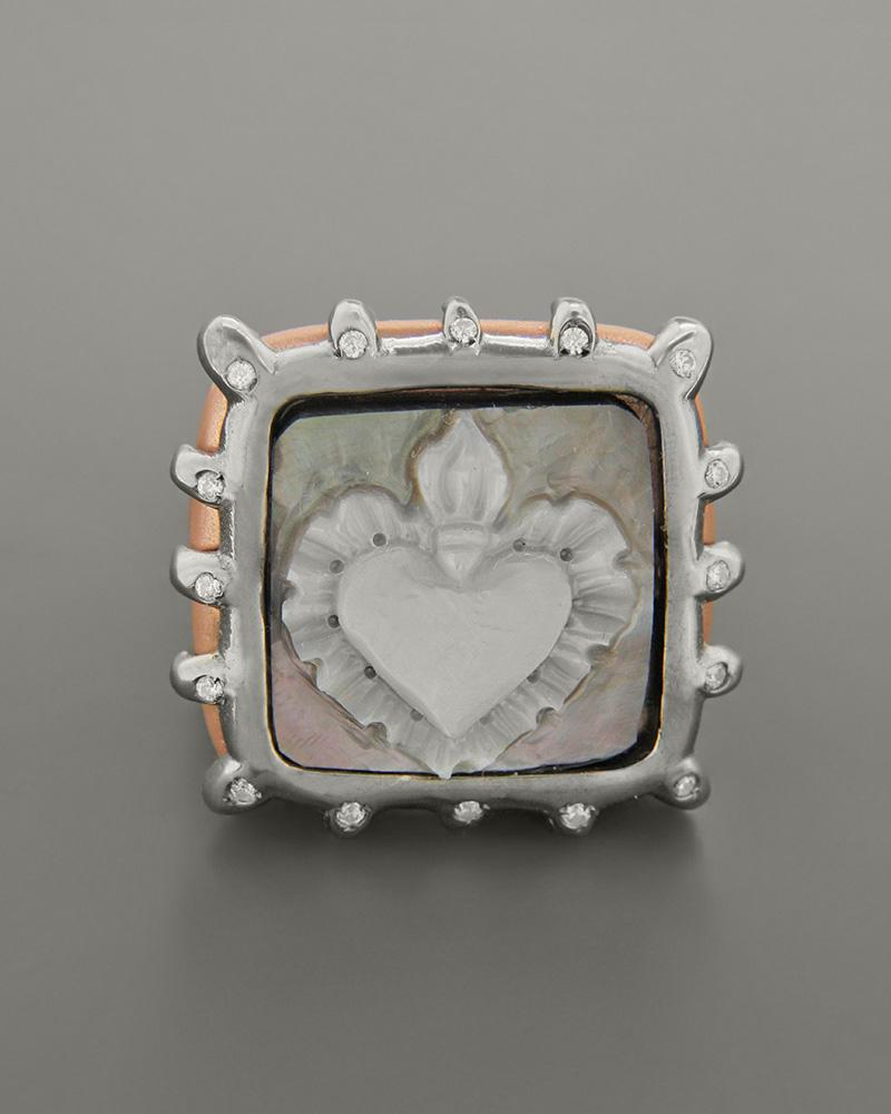 Δαχτυλίδι ασημένιο 925 με cameo και ζιργκόν