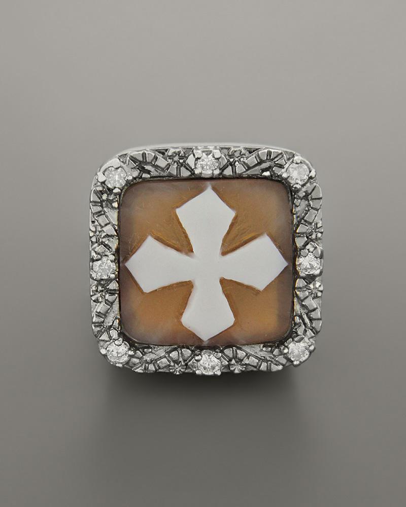 Δαχτυλίδι ασημένιο με Cameo και ζιργκόν   κοσμηματα δαχτυλίδια δαχτυλίδια ανδρικά