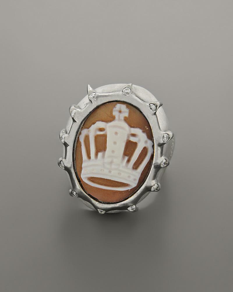 Δαχτυλίδι ασημένιο με Cameo και Zιργκόν   γυναικα δαχτυλίδια δαχτυλίδια chevalier