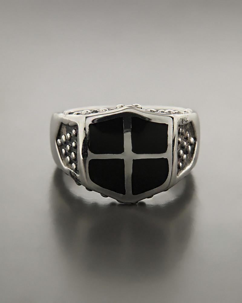 Δαχτυλίδι ανδρικό μεσαιωνική ασπίδα ασημένιο 925 με σμάλτο   κοσμηματα δαχτυλίδια δαχτυλίδια ανδρικά