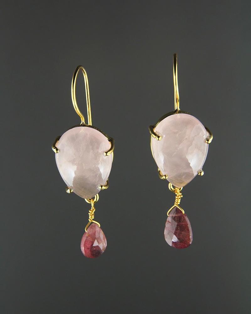 Σκουλαρίκια ασημένια 925 με Χαλαζία & Τουρμαλίνες   γυναικα σκουλαρίκια σκουλαρίκια ημιπολύτιμοι λίθοι