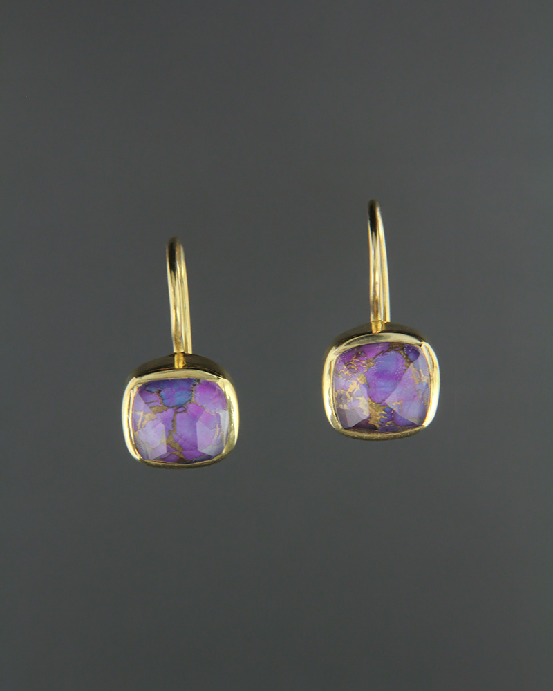Σκουλαρίκια ασημένια 925 με Purple Copper Doublet   γυναικα σκουλαρίκια σκουλαρίκια ασημένια