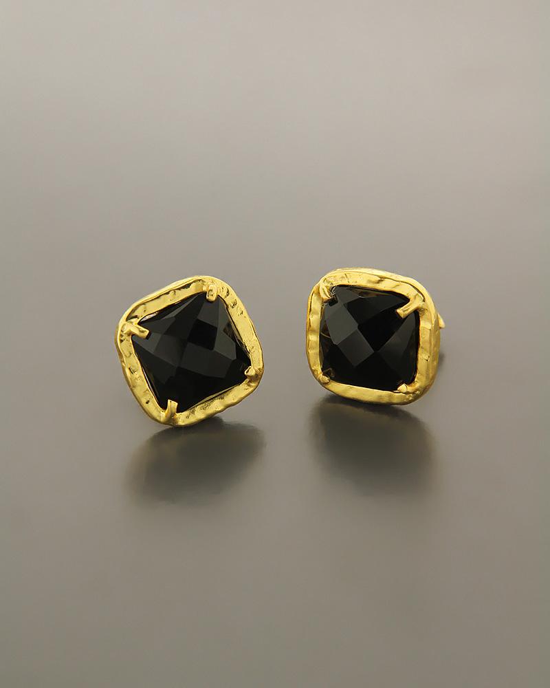Σκουλαρίκια ασημένια 925 με Μαύρο Όνυχα   γυναικα σκουλαρίκια σκουλαρίκια ημιπολύτιμοι λίθοι
