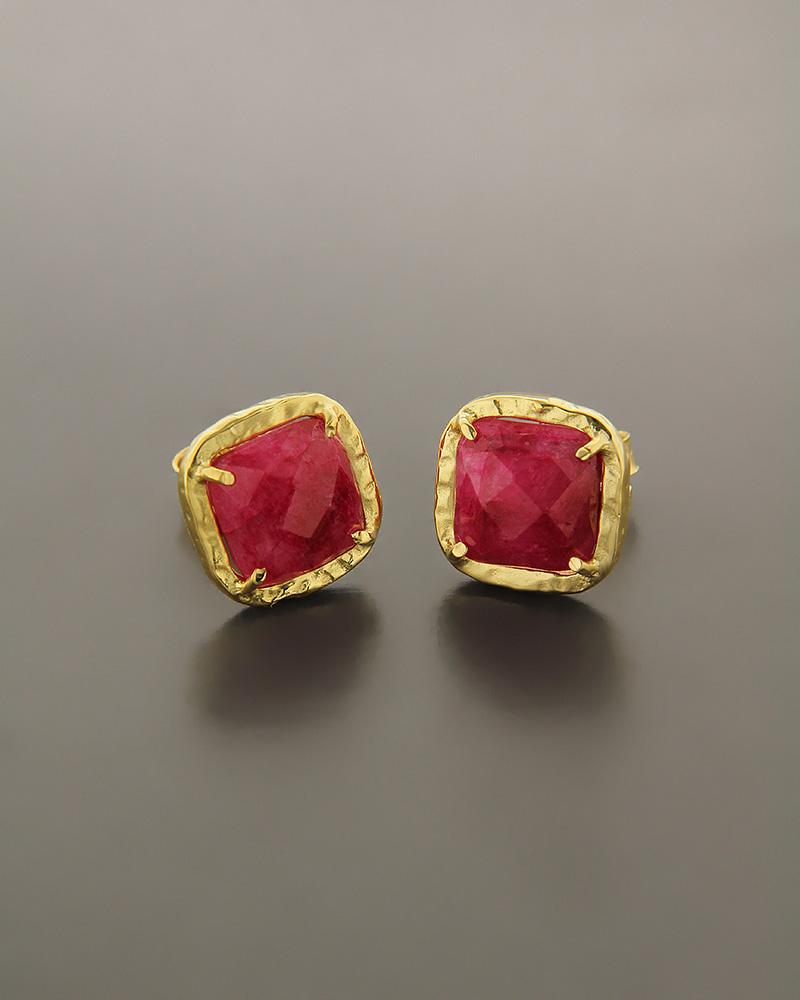 Σκουλαρίκια ασημένια 925 με Ρουμπινίτη   γυναικα σκουλαρίκια σκουλαρίκια ασημένια