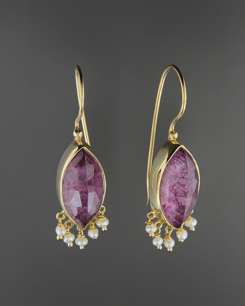 Σκουλαρίκια ασημένια 925 με Ρουμπίνι Doublet & Μαργαριτάρια   γυναικα σκουλαρίκια σκουλαρίκια ημιπολύτιμοι λίθοι