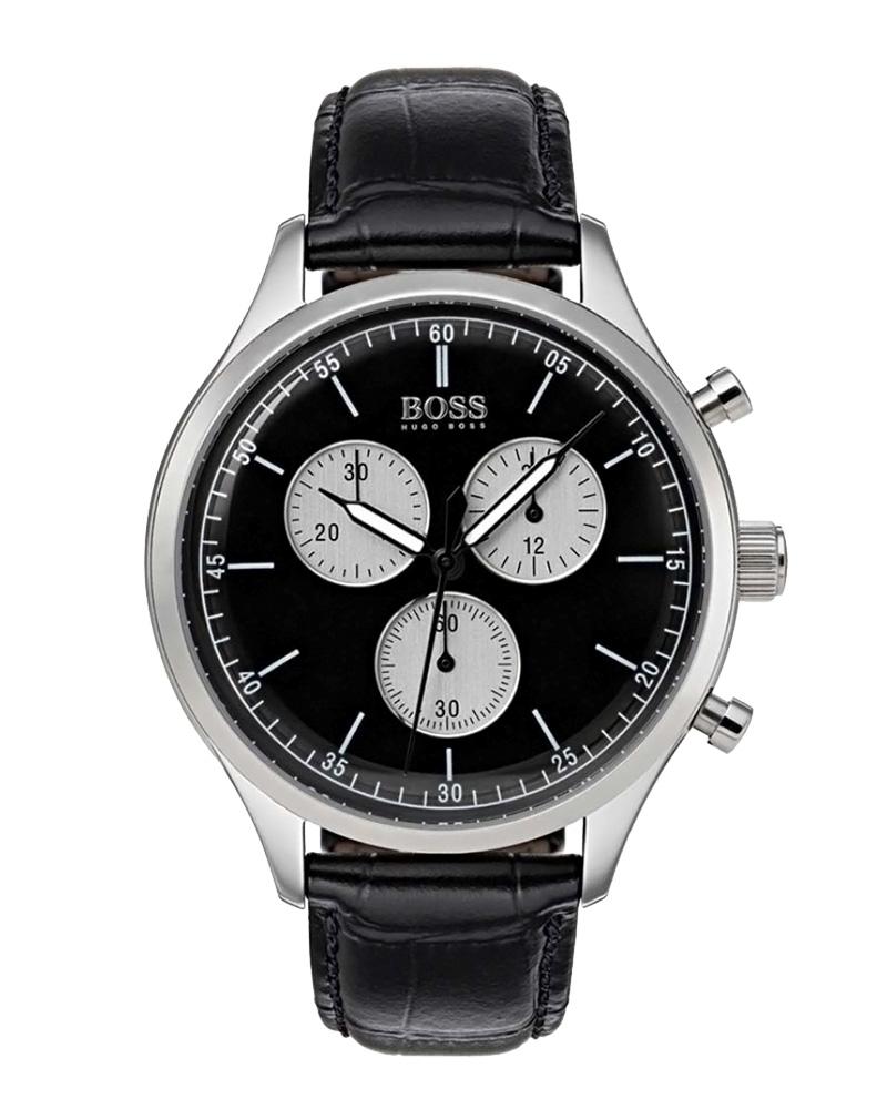 Ρολόι HUGO BOSS Black Leather Chronograph 1513543   brands boss ρολόγια boss