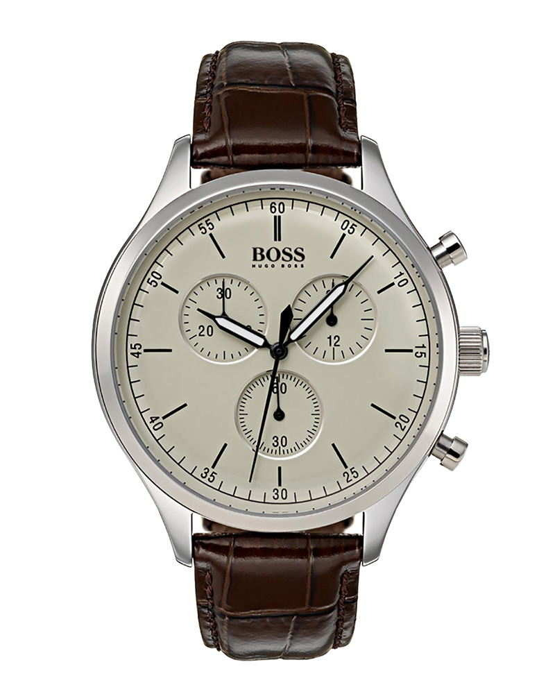 BOSS Black Chronograph Brown Leather Strap 1513544   brands boss ρολόγια boss