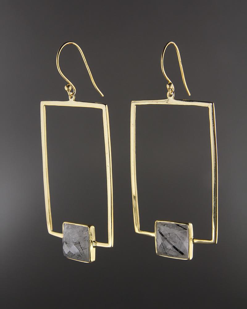 Σκουλαρίκια ασημένια 925 με Ρουτίλιο   γυναικα σκουλαρίκια σκουλαρίκια ημιπολύτιμοι λίθοι