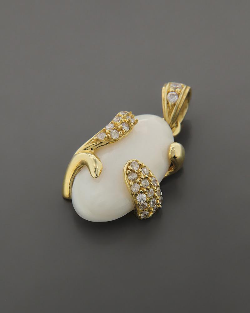 Μενταγιόν χρυσό Κ14 με Φίλντισι & Ζιργκόν   κοσμηματα κρεμαστά κολιέ κρεμαστά κολιέ ημιπολύτιμοι λίθοι
