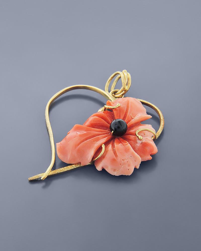 Μενταγιόν λουλούδι χρυσό Κ18 με Κοράλλι   κοσμηματα κρεμαστά κολιέ κρεμαστά κολιέ ημιπολύτιμοι λίθοι