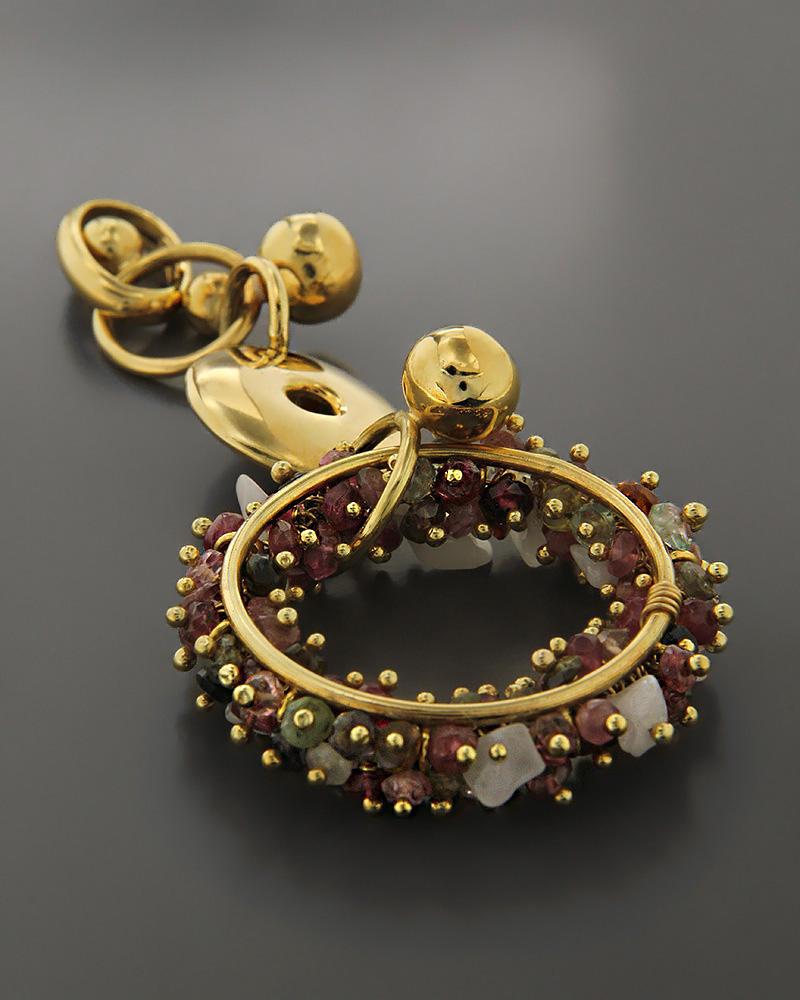 Μενταγιόν χρυσό Κ18 με Τουρμαλίνες & Αχάτη   κοσμηματα κρεμαστά κολιέ κρεμαστά κολιέ ημιπολύτιμοι λίθοι