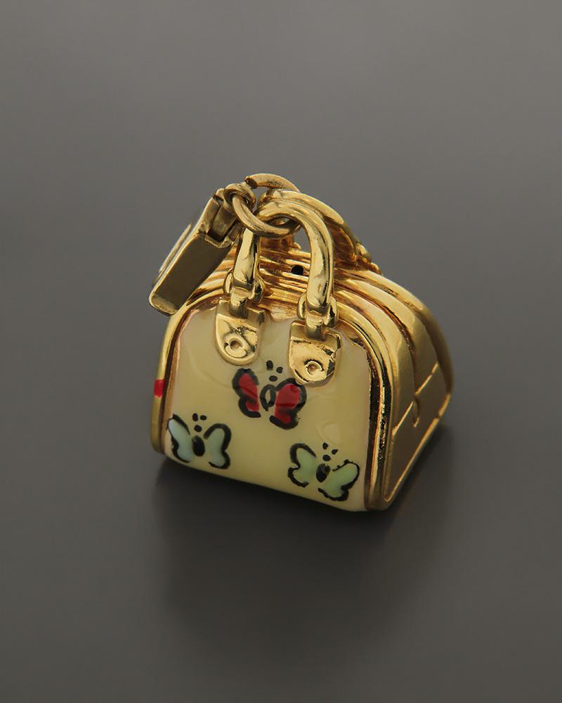 Μενταγιόν τσάντα χρυσό Κ14 με Σμάλτο   κοσμηματα κρεμαστά κολιέ κρεμαστά κολιέ fashion