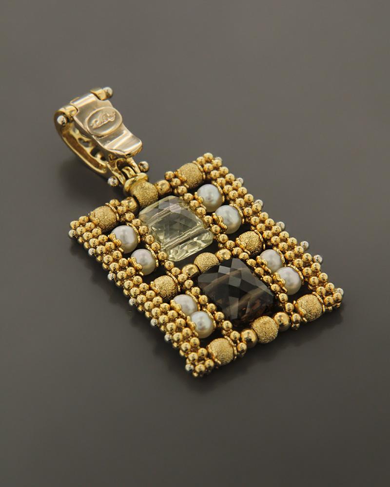 Μενταγιόν χρυσό Κ18 με Citrine & Quartz   κοσμηματα κρεμαστά κολιέ κρεμαστά κολιέ ημιπολύτιμοι λίθοι