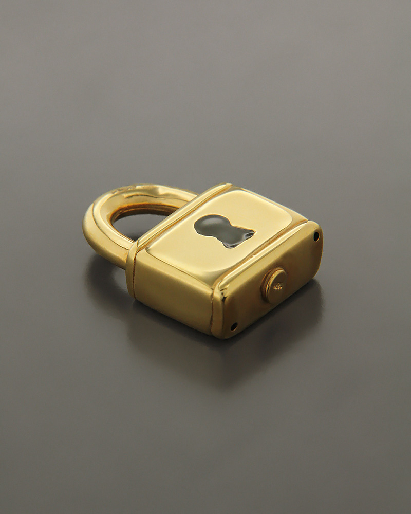 Μενταγιόν λουκέτο χρυσό Κ18 με Σμάλτο   κοσμηματα κρεμαστά κολιέ κρεμαστά κολιέ fashion