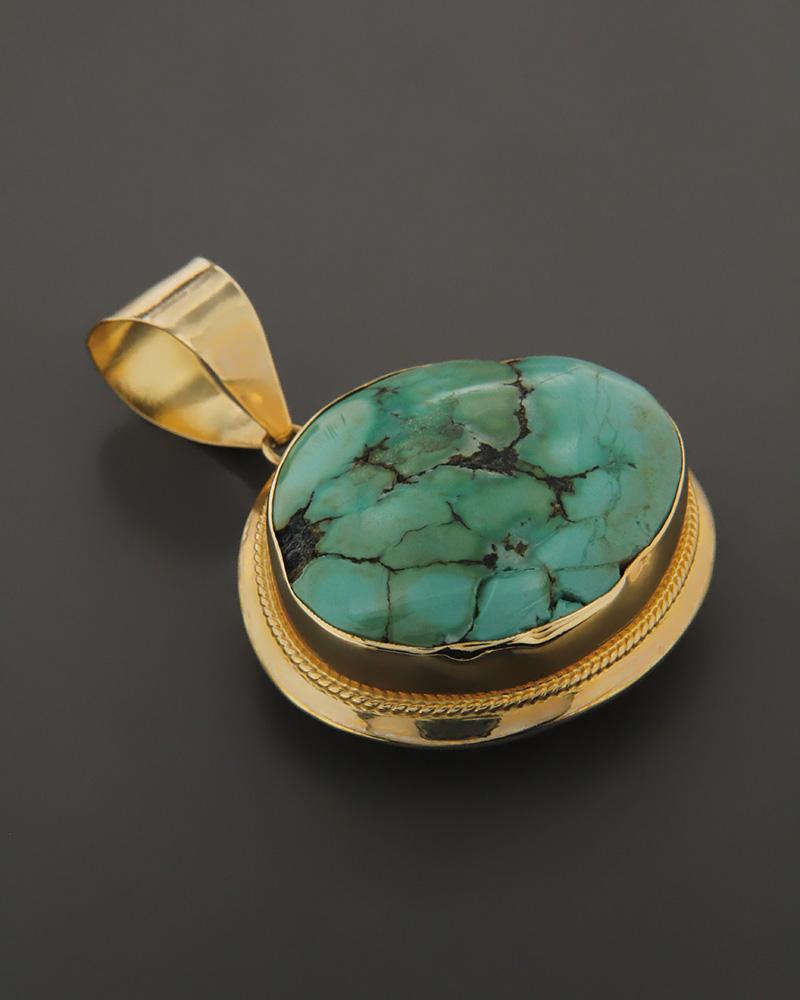 Μενταγιόν χρυσό Κ14 με Τυρκουάζ   κοσμηματα κρεμαστά κολιέ κρεμαστά κολιέ ημιπολύτιμοι λίθοι