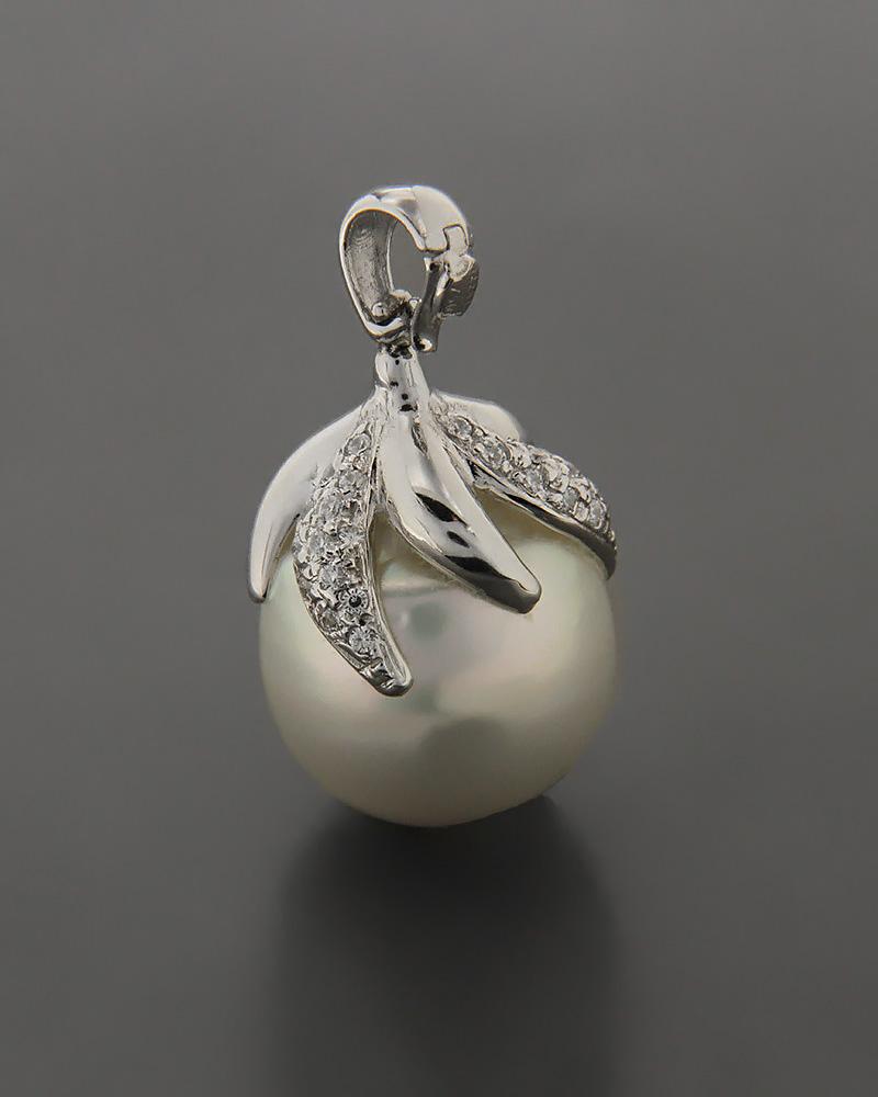 Μενταγιόν λευκόχρυσο Κ18 με Μαργαριτάρι & Ζιργκόν   κοσμηματα κρεμαστά κολιέ κρεμαστά κολιέ λευκόχρυσα