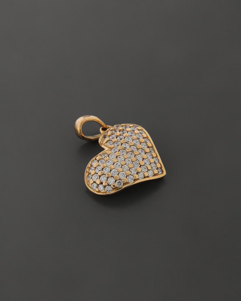 Μενταγιόν καρδιά ροζ χρυσό Κ18   κοσμηματα κρεμαστά κολιέ κρεμαστά κολιέ καρδιές