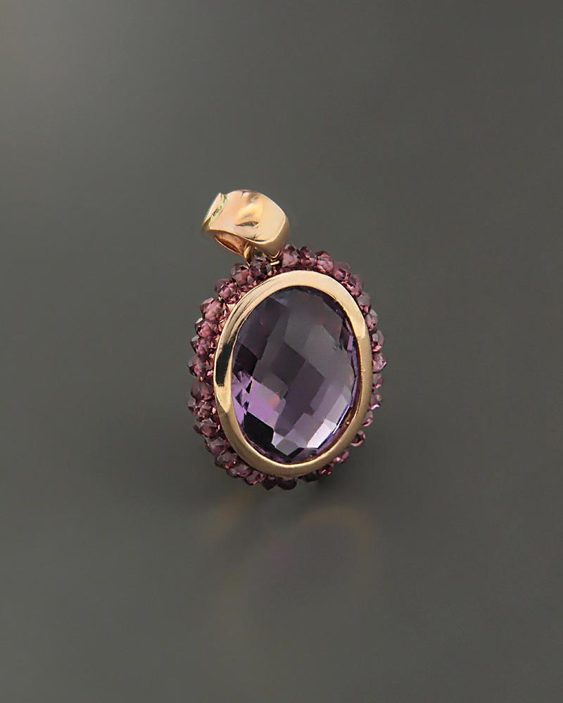 Μενταγιόν ροζ χρυσό Κ18 με Αμέθυστο   κοσμηματα κρεμαστά κολιέ κρεμαστά κολιέ ημιπολύτιμοι λίθοι