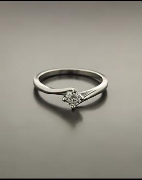 Μονόπετρο δαχτυλίδι ασημένιο με λευκό ζιργκόν 91908e0001e