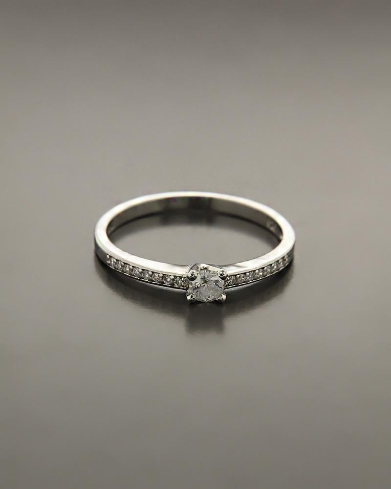 Μονόπετρο δαχτυλίδι ασημένιο με λευκά ζιργκόν   γαμοσ μονόπετρα μονοπετρα με ζιργκόν
