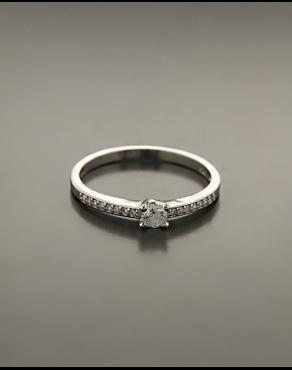 Μονόπετρο δαχτυλίδι ασημένιο με λευκά ζιργκόν f4ec068c459