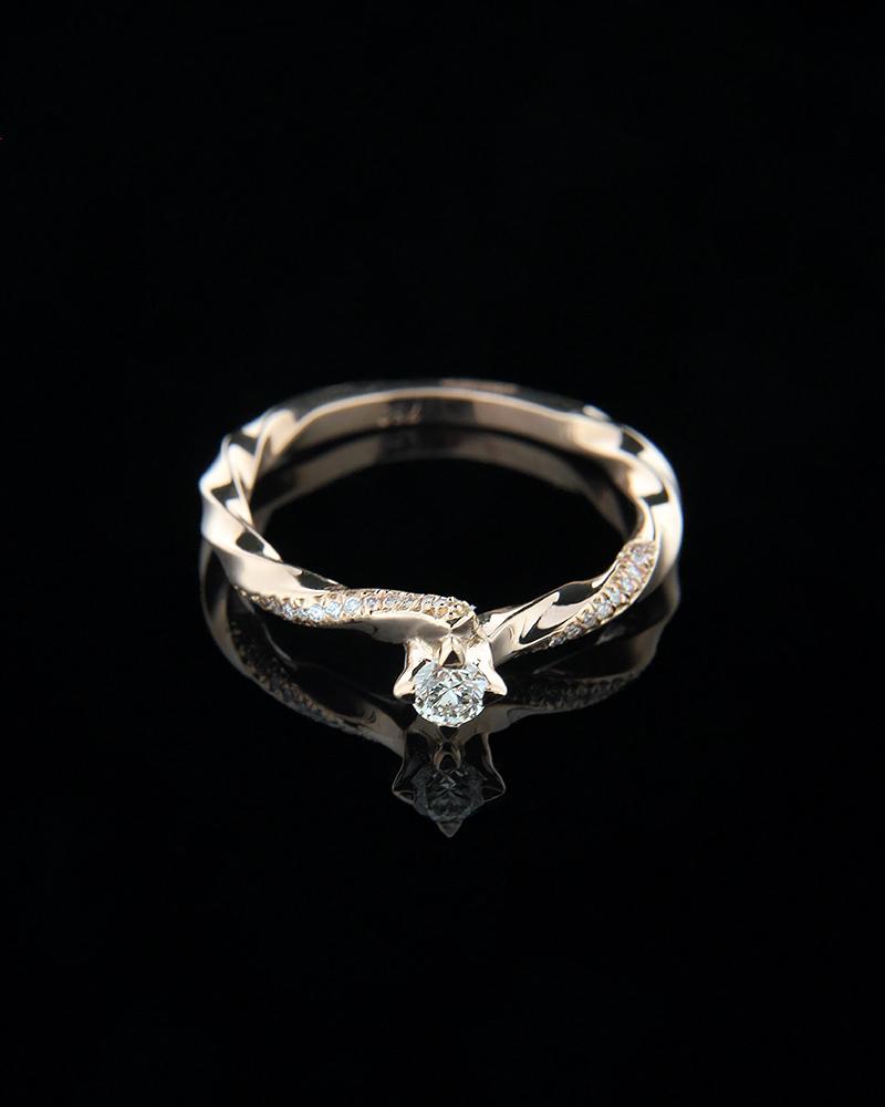 Δαχτυλίδι μονόπετρο από ροζ χρυσό Κ18 με Διαμάντια   γαμοσ μονόπετρα μονοπετρα με διαμάντια