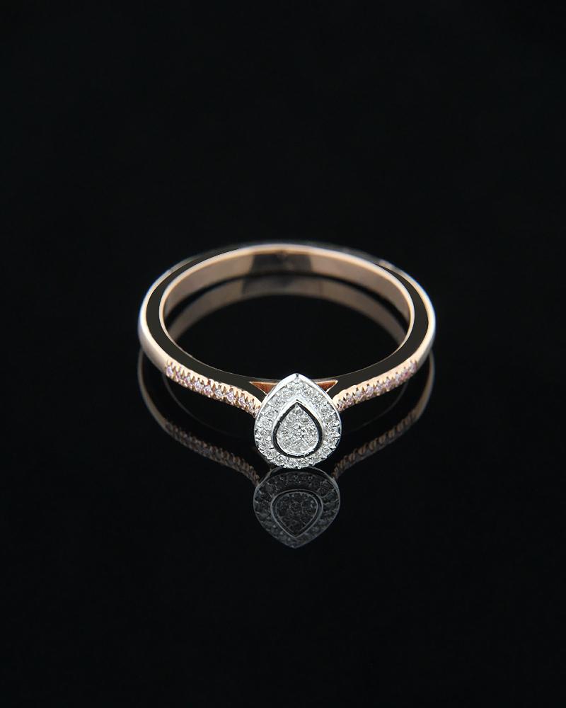 Δαχτυλίδι μονόπετρο από ροζ και λευκό χρυσό Κ18 με Διαμάντια   ζησε το μυθο μονόπετρα μονοπετρα με διαμάντια
