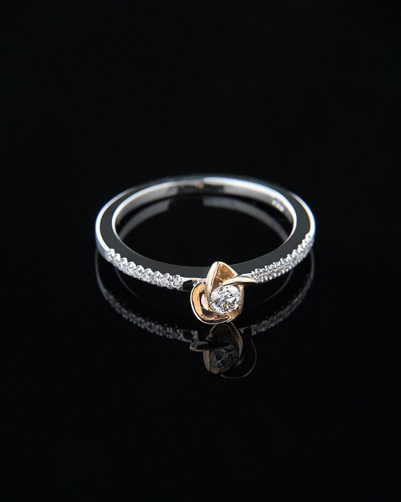 Δαχτυλίδι μονόπετρο από λευκό και ροζ χρυσό Κ18 με Διαμάντια   ζησε το μυθο μονόπετρα μονοπετρα με διαμάντια