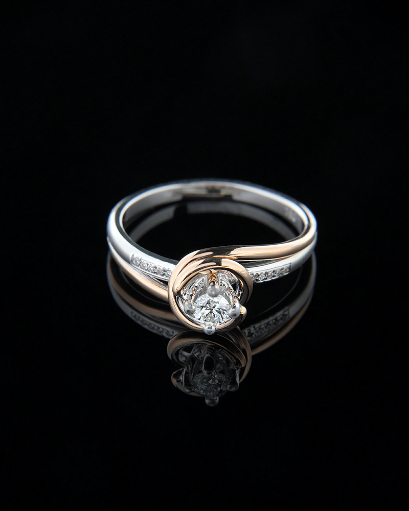 Δαχτυλίδι μονόπετρο από λευκό και ροζ χρυσό Κ18 με Διαμάντια   γαμοσ μονόπετρα μονοπετρα με διαμάντια