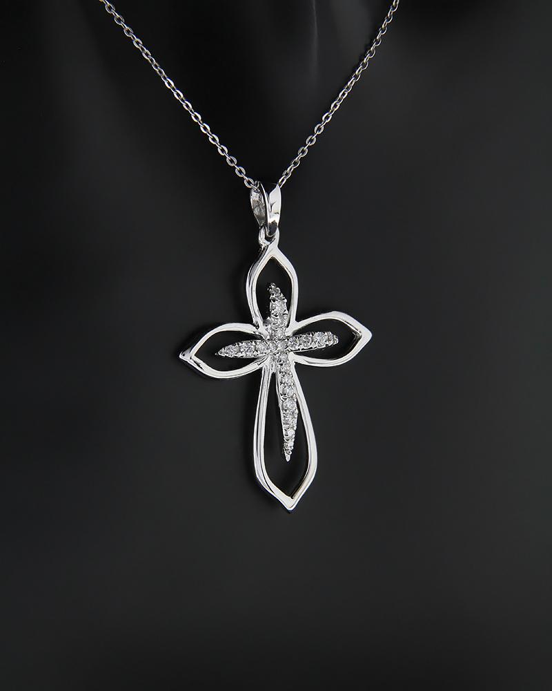 Σταυρός από λευκό χρυσό K18 με λευκά διαμάντια   παιδι βαπτιστικοί σταυροί βαπτιστικοί σταυροί για κορίτσι