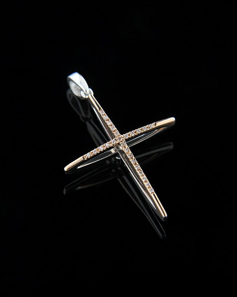 Σταυρός διπλής όψεως από λευκό & ροζ χρυσό K18 με λευκά διαμάντ   γυναικα σταυροί σταυροί με διαμάντια