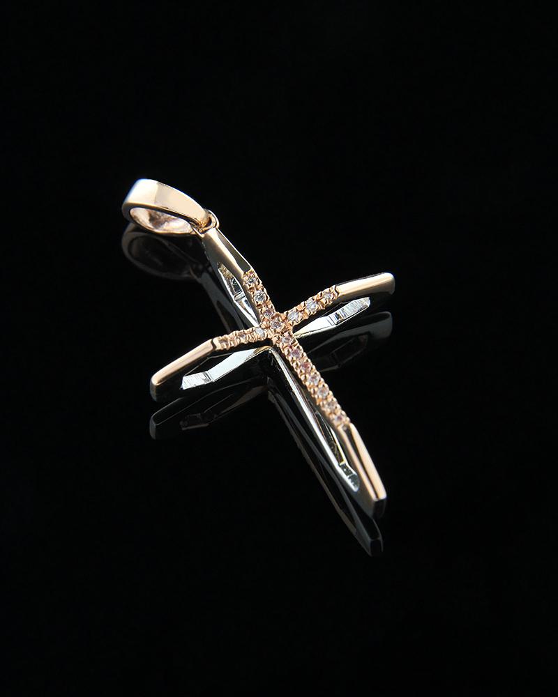 Σταυρός δύο όψεων λευκός και ροζ χρυσός K18 με λευκά διαμάντια